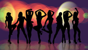 Group of silhouette girls dancing Royalty Free Stock Photo