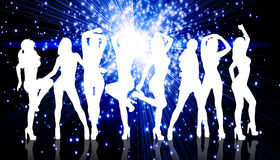 Group of silhouette girls dancing Royalty Free Stock Image