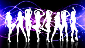 Group of silhouette girls dancing Royalty Free Stock Photography