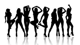 Group of silhouette girls dancing. On the white background Royalty Free Stock Photos