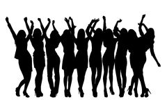 Group of silhouette girls dancing. On the white background vector illustration