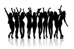 Group of silhouette girls dancing. On the white background Stock Images