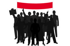 Group silhouette people demonstration. With red bill over white background vector illustration