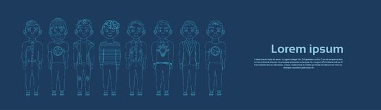Group Of Silhouette Young Men On Blue Backgroud With Copy Space Thin Line Horizontal Banner. Vector Illustration Stock Images