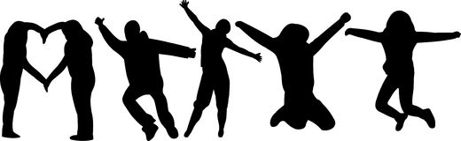 Group of silhouettes Royalty Free Stock Photos