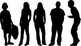 Group of silhouettes royalty free illustration