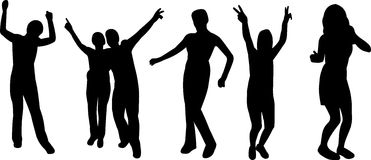 Group of silhouettes stock illustration