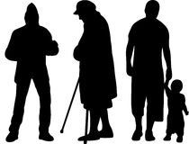 Group of silhouettes Royalty Free Stock Photo