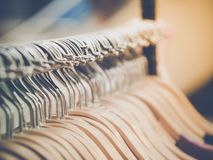 Group of silver clothes hangers. Royalty Free Stock Images