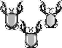Group of silver decorated  emblems or  crests, Stock Image
