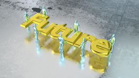 Group of silver people carry the golden word future. Group of silver people carry the huge golden word future on wet metal floor teamwork concept 3D illustration Stock Image