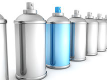 Group of silver spray cans with blue one Royalty Free Stock Photography