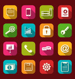 Group simple flat icons of business and financial items, with lo Royalty Free Stock Photo