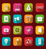 Group simple and trendy flat icons of business and financial ite Stock Photo