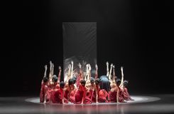 """Group sink-Mirror curtain-Huang Mingliang`s dance""""No shelter"""". Huang Mingliang`s dance""""No shelter"""",Young dancers from Jiangxi royalty free stock images"""