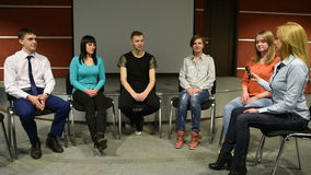 Group sits in a circle. They tell their stories. psychological relief. stock video