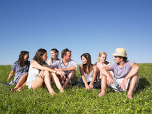 Group sitting in meadow Royalty Free Stock Photography