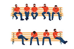 Group sitting men. Illustration of group of colored male silhouettes sitting on a long benches in different poses isolated on white background Stock Photo