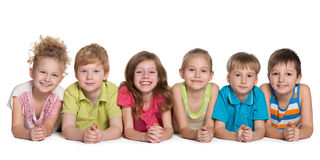 Group of six cheerful children Royalty Free Stock Images