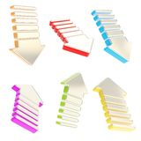 Group of six isolated arrows in various foreshortenings Stock Photo