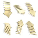 Group of six isolated arrows in various foreshortenings Royalty Free Stock Photo