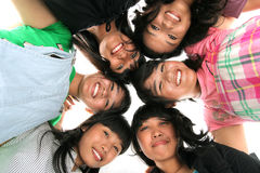 Group of six people. Group of six asian people low angle Stock Image