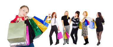 Group of six shopping girls Stock Photo