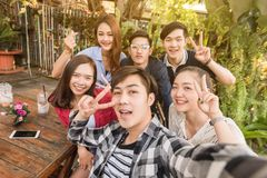Group of six teenagers taking selfie with fun together in aftern stock image