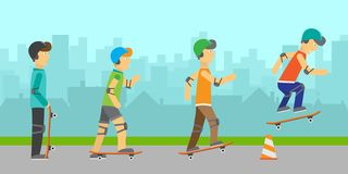 Group of Skateboarders stock photography