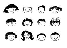 Group of sketch kids face set Royalty Free Stock Image