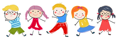 Group of sketch kids Royalty Free Stock Photography