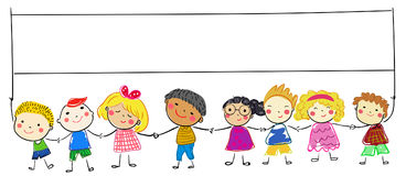 Group of sketch kids Stock Images