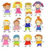 Group of sketch kids Royalty Free Stock Photo