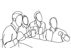 Group Of Sketch Men Drinking Beer Hold Glasses Doodle Male In Pub Or Bar Concept Toasting Party Or Celebration. Vector Illustration Royalty Free Stock Images