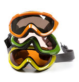 Group of Ski Goggles. Photographs of ski googles on a white background stock photos