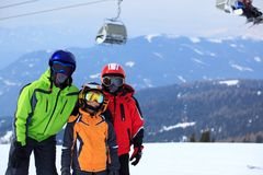 Group of skiers. On mountain side with chair lift in background Royalty Free Stock Photography
