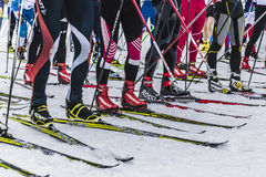 Group of skiers athletes on starting line. Kyshtym, Russia -  March 26, 2016: group of skiers athletes on starting line during Championship on cross country Stock Image