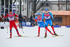 Group of skiers during FIS Continental Cup ski racing Stock Image