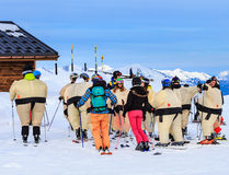 Group of skiers in the inflatable costumes. Valley  Val Thorens. France Royalty Free Stock Images