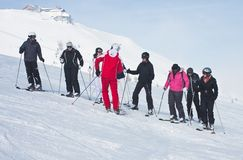 The group of skiers and instructor Stock Photo