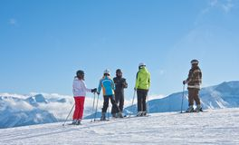 The group of skiers and instructor Stock Photos