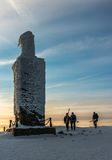 Group of skiers on the mountain top Snezka Stock Photo