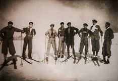 Group of skiers pioneers at Las Cimeras Hill in 1929 royalty free stock images