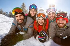Group of young skiers together on winter. Group of skiers together on winter Stock Images