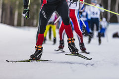 Group of skiers up mountain. Kyshtym, Russia -  March 26, 2016: group of skiers up mountainl during Championship on cross country skiing Stock Image