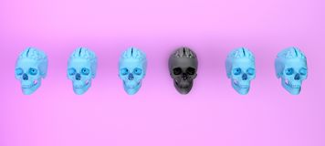 Group of skulls on color background .Minimal concept idea.3d ren. Dering. 3d illustration Royalty Free Stock Photo
