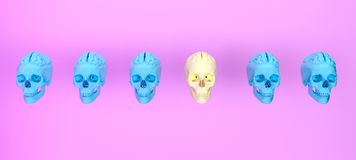 Group of skulls on color background .Minimal concept idea.3d ren. Dering. 3d illustration Royalty Free Stock Photos