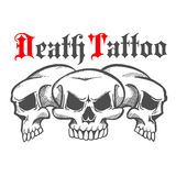 Group of skulls for death tattoo. Group of skulls without mandible and naked teeth for death tattoo or mascot logo, halloween emblem. Concept of horror and death Stock Images