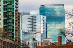 Group of skyscrapers in Midtown, Atlanta, USA. Group of skyscrapers with glass facades in Midtown Atlanta in cloudy day, USA Royalty Free Stock Photography