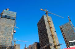 Group of skyscrapers under construction Royalty Free Stock Photos